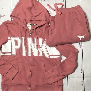 PINK Victoria's Secret Sweats Jacket Outfit